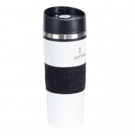 Baltas puodelis su juodais elementais