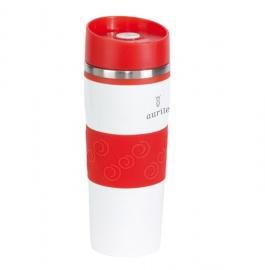 Baltas puodelis su raudonais elementais