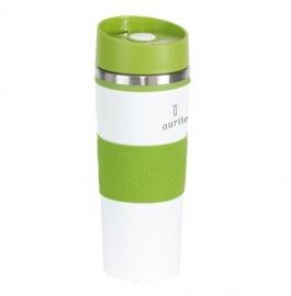 Baltas puodelis su žaliais elementais